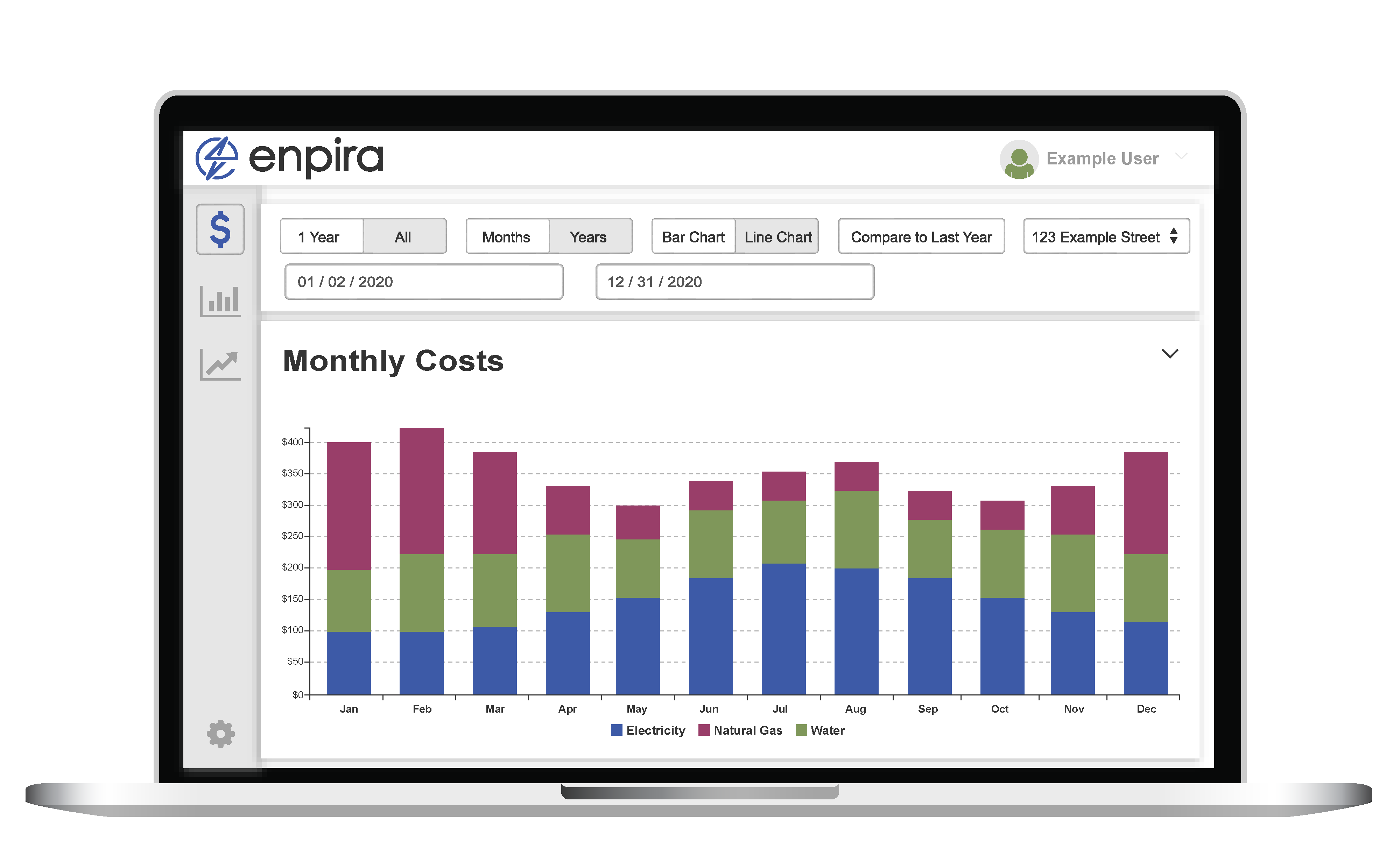A laptop displaying Enpira's analytics.